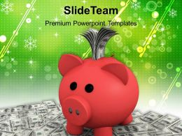 Piggy Bank With Dollar Notes Powerpoint Templates Ppt Themes And Graphics
