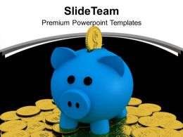 Piggy Bank With Golden Coins PowerPoint Templates PPT Themes And Graphics 0213