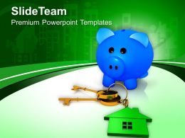 Piggy Bank With House Keys Security PowerPoint Templates PPT Themes And Graphics 0213