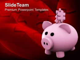 Piggy Bank With Jigsaw Puzzle Solution Powerpoint Templates Ppt Themes And Graphics 0213