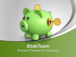 Piggy Bank With Key Closed Future Powerpoint Templates Ppt Themes And Graphics 0213