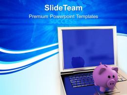 Piggy Bank With Laptop Technology Powerpoint Templates Ppt Backgrounds For Slides 0213