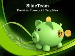 Piggy Bank With Lock And Dollar Security Powerpoint Templates Ppt Themes And Graphics 0213