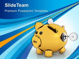 Piggy Bank With Lock And Key Powerpoint Templates Ppt Themes And Graphics