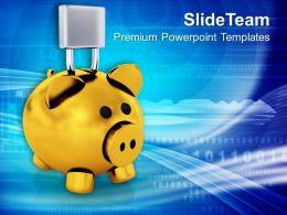 Piggy Bank With Lock Financially Secure PowerPoint Templates PPT Themes And Graphics 0213