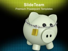 Piggy Bank With Lock Security Savings Success Powerpoint Templates Ppt Themes And Graphics 0113
