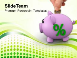 Piggy Bank With Percent Investment Savings Powerpoint Templates Ppt Themes And Graphics 0213