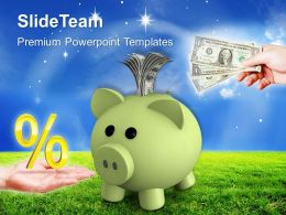 Piggy Bank With Percentage Money Box Investment Powerpoint Templates Ppt Themes And Graphics 0113