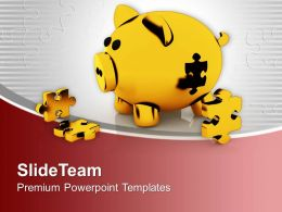 Piggy Bank With Puzzles Solution Concept Powerpoint Templates Ppt Themes And Graphics 0313