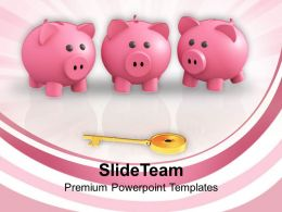 Piggy Banks And Key To Success Powerpoint Templates Ppt Themes And Graphics 0113
