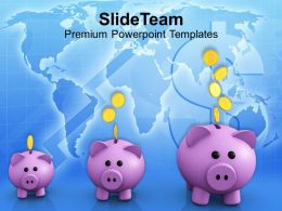 Piggy Banks Increase In Savings Powerpoint Templates Ppt Themes And Graphics