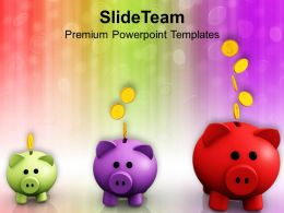 Piggy Banks Increasing In Size Growth PowerPoint Templates PPT Themes And Graphics 0213