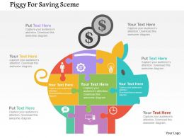 Piggy For Saving Sceme Flat Powerpoint Design