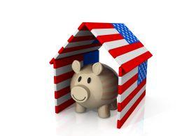Piggy Inside The House Made Of Us Flag Shows Saving Concept Stock Photo