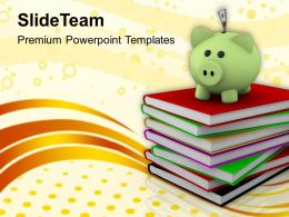 Piggy Over A Stack Of Books Powerpoint Templates PPT Themes And Graphics 0113