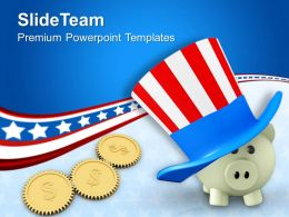 Piggy Wearing Patriot Hat And Dollar Coins Americana Powerpoint Templates Ppt Themes And Graphics 0113