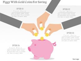 Piggy With Gold Coins For Saving Flat Powerpoint Design