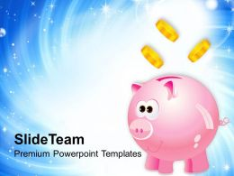 Piggy With Money Savings PowerPoint Templates PPT Themes And Graphics 0213