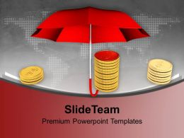 Pile Of Coins Under A Umbrella Powerpoint Templates Ppt Themes And Graphics 0113