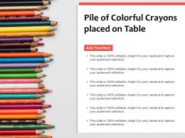 Pile Of Colorful Crayons Placed On Table