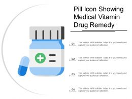 Pill Icon Showing Medical Vitamin Drug Remedy