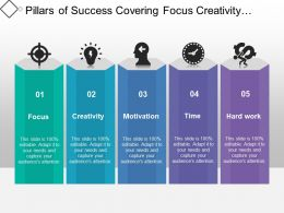 Pillars Of Success Covering Focus Creativity Motivation And Hard Work