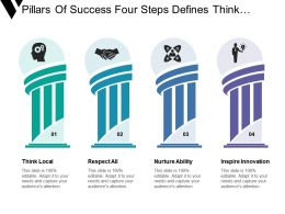 Pillars Of Success Four Steps Defines Think Logical Respect And Inspire Innovation