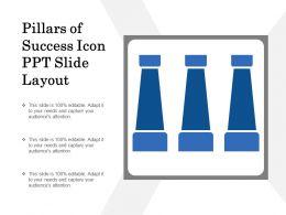 Pillars Of Success Icon Ppt Slide Layout