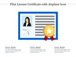 Pilot License Certificate With Airplane Icon