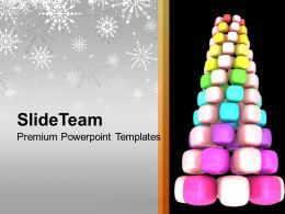 Pine Tree Formed By Cubes Decoration Powerpoint Templates Ppt Themes And Graphics 0113