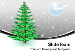 Pine Tree In Snow Winter Night PowerPoint Templates PPT Backgrounds For Slides 0113