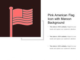 Pink American Flag Icon With Maroon Background