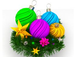 Pink Blue And Green Decorative Ball For Christmas Stock Photo