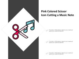 Pink Colored Scissor Icon Cutting A Music Note
