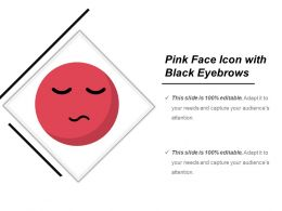 Pink Face Icon With Black Eyebrows