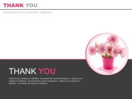 Pink Flowers Pot For Thank You Powerpoint Slides