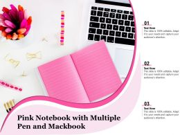 Pink Notebook With Multiple Pen And Mackbook