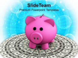 Pink Piggy Bank On Dollar Bills Finance Powerpoint Templates Ppt Themes And Graphics 0113