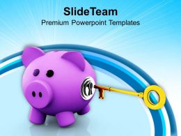 Pink Piggy Bank With Key Hole And Key Powerpoint Templates Ppt Themes And Graphics 0113