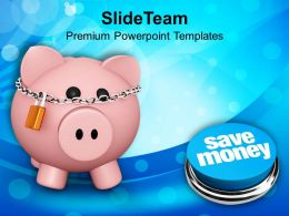 Pink Piggy Bank With Lock Save Money Powerpoint Templates Ppt Themes And Graphics 0113