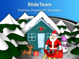 Pink Snowmen With Santa Hut Christams Festival Powerpoint Templates Ppt Themes And Graphics 0113