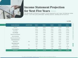 Pitch Deck Early Stage Funding Income Statement Projection For Next Five Years Ppt Icon