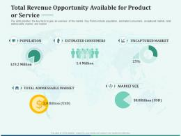 Pitch Deck Early Stage Funding Total Revenue Opportunity Available For Product Or Service Ppt Styles