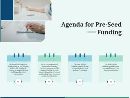 Pitch Deck For Early Stage Funding Agenda For Pre Seed Funding Ppt Diagram
