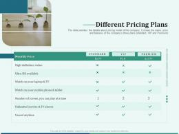 Pitch Deck For Early Stage Funding Different Pricing Plans Ppt Icon Graphics