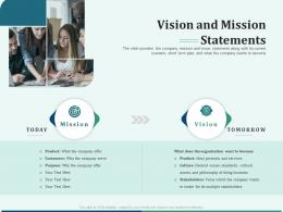 Pitch Deck For Early Stage Funding Vision And Mission Statements Ppt Show Guide