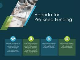 Pitch Deck Raise Funding Pre Seed Capital Agenda For Pre Seed Funding Ppt Professional