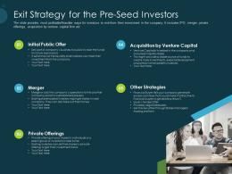 Pitch Deck Raise Funding Pre Seed Capital Exit Strategy For The Pre Seed Investors Ppt Model