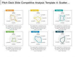 Pitch Deck Slide Competitive Analysis Template 4 Scatter Chart Radar Chart Ppt Samples