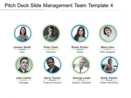 Pitch Deck Slide Management Team Template 4 Presentation Visuals